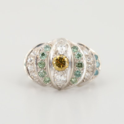 14K White Gold 1.29 CTW Diamond Ring with Blue, Green and Yellow Diamonds