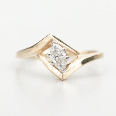 14K Yellow Gold Diamond Geometric Ring