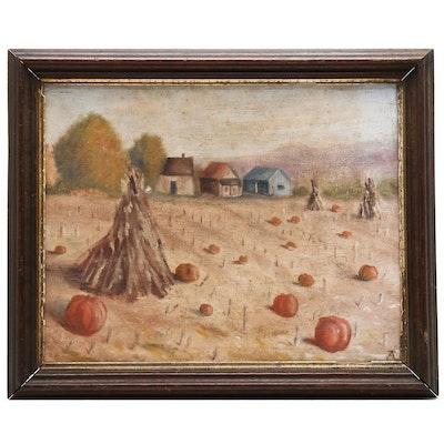 Pumpkin Patch Oil Painting