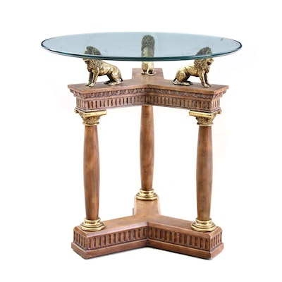 Maitland-Smith Glass Top Center Table with Column and Lion Base