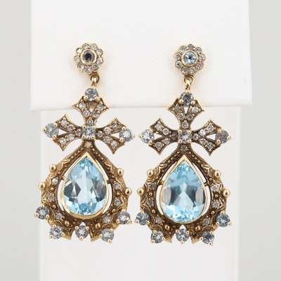 18K Yellow Gold Topaz and Diamond Dangle Earrings