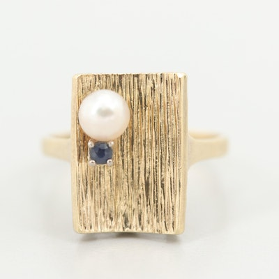 Vintage 14K Yellow Gold Cultured Pearl and Synthetic Sapphire Rectangular Ring