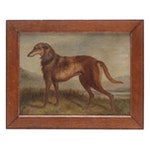 19th Century Deerhound Oil Painting