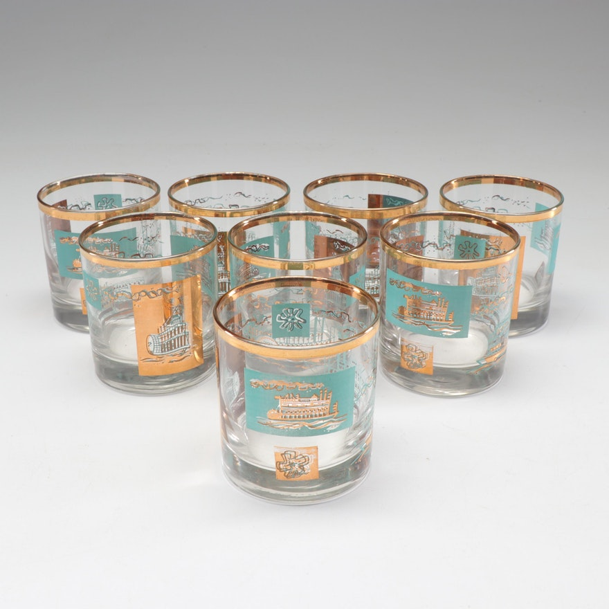 """Libbey """"Southern Comfort Steamboat"""" Lowball Glasses, Mid-Century"""