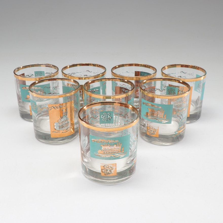 "Libbey ""Southern Comfort Steamboat"" Lowball Glasses, Mid-Century"