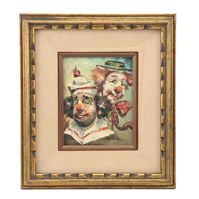 William Moninet Oil Painting of Clowns