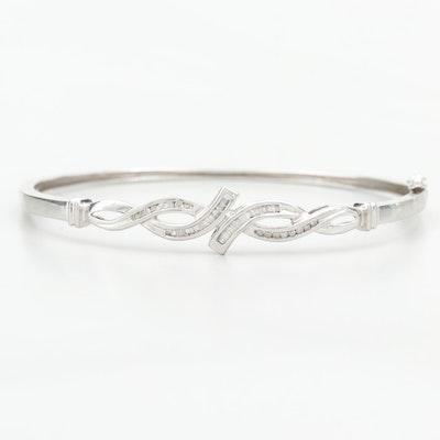 10K White Gold Diamond Hinged Bangle Bracelet