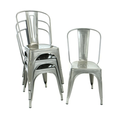 """Four Xavier Pauchard for Tolix, Steel """"A"""" Chairs"""