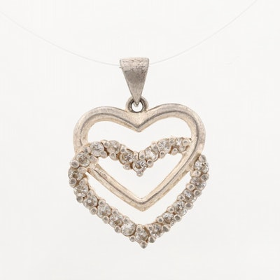 Sterling Silver Glass Heart Pendant