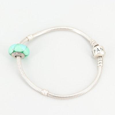 Pandora Sterling Silver Charm Bracelet Including Glass Charm