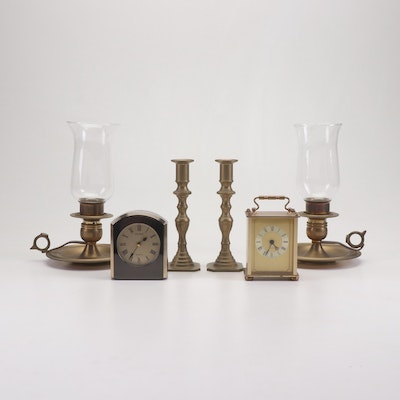 Seiko and German Hechinger Desk Clocks with Brass Chambersticks and Candlesticks