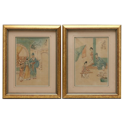 Chinese Watercolor and Gouache Paintings on Silk