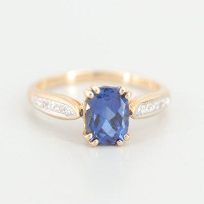 14K Yellow Gold Synthetic Sapphire and Diamond Ring