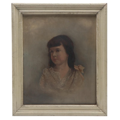 19th Century Portrait of a Young Girl Oil Painting