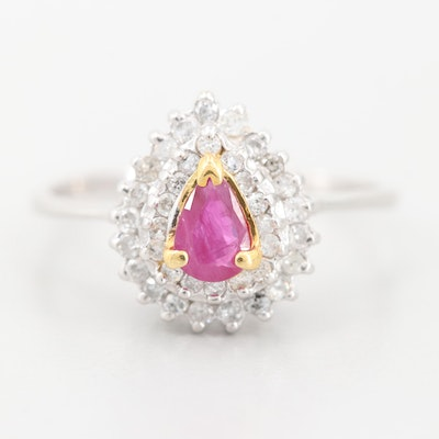 14K White Gold Ruby and Diamond Ring with Yellow Gold Accents