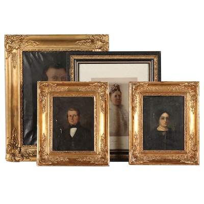 19th Century Portrait Lithograph and Oil Paintings