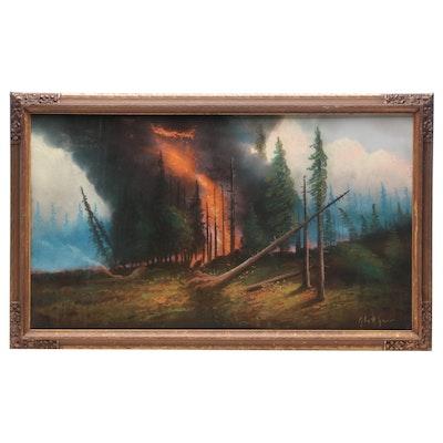 Albert Glatthaar Forest Fire Pastel Drawing