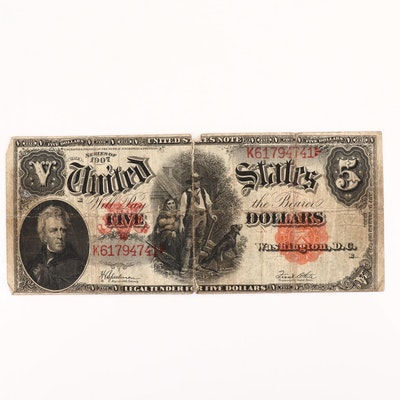 """Large Format Series of 1907 $5 United States Legal Tender """"Woodchopper"""" Note"""