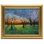 "Carl Bevan Acrylic Landscape Painting ""Hyde Park, Morning Commute"""
