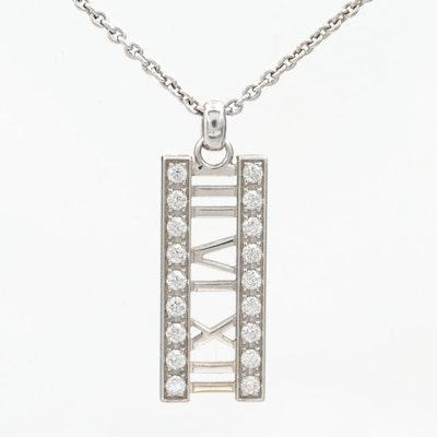 Tiffany & Co. Atlas 18K White Gold Diamond Pendant Necklace