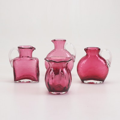 Pilgrim Hand Blown Cranberry Glass Pitchers and Vase, Mid 20th Century