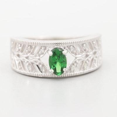 14K White Gold Tsavorite and Diamond Ring