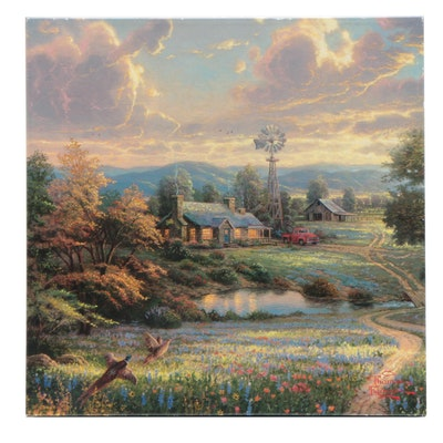 Giclee Print After Thomas Kinkade of Pastoral Scene