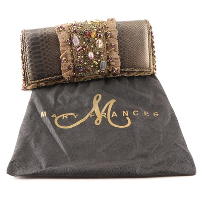 Mary Frances of San Francisco Beaded and Embossed Leather Shoulder Bag