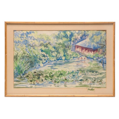 Watercolor Painting of Wooded Landscape