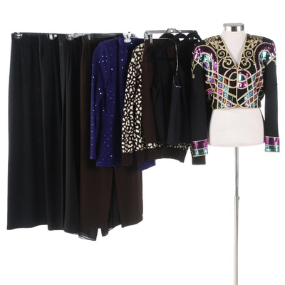 St. John Brand Skirts and Pant Sets Featuring Sequins and Metal Tassels