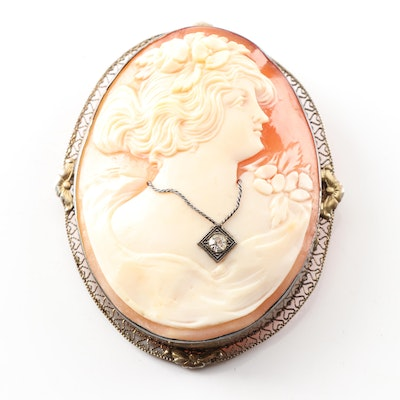 Carved Cameo Brooch with 10K Yellow Gold Floral Accents