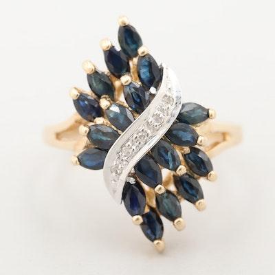 10K Yellow Gold Diamond and Blue Sapphire Ring