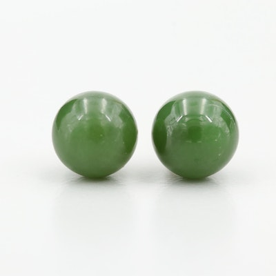 14K Yellow Gold Nephrite Stud Earrings