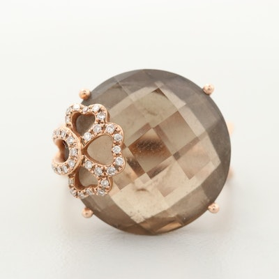 14K Rose Gold Smoky Quartz and Diamond Ring
