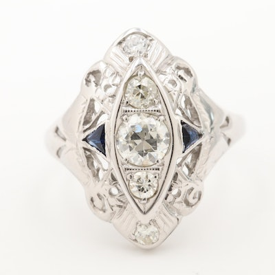 Edwardian 18K White Gold Diamond and Synthetic Blue Sapphire Ring