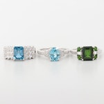 Sterling Silver Zircon, Diopside and Topaz Rings