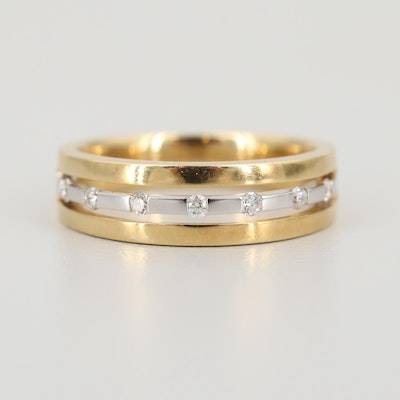 18K Yellow Gold Diamond Ring with White Gold Accents