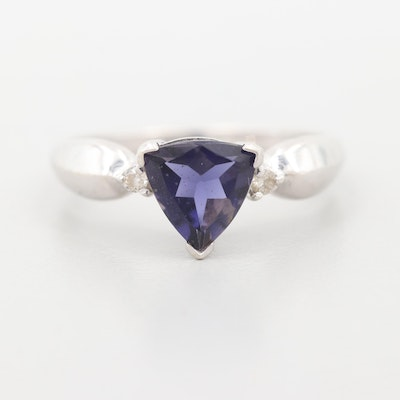 14K White Gold Iolite and Diamond Ring