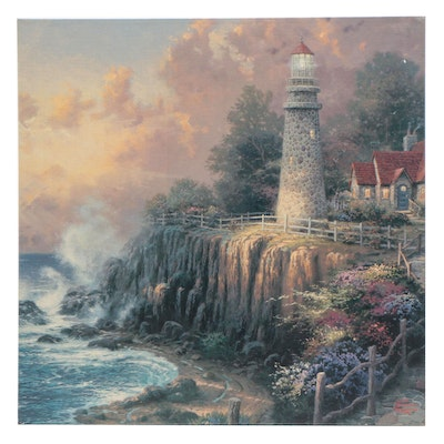 Giclee Print After Thomas Kinkade of Coastal Scene with Lighthouse