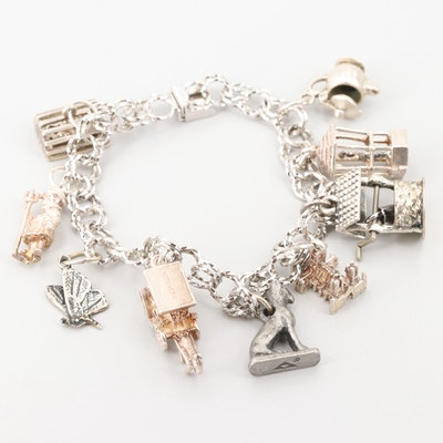 Sterling Silver Charm Bracelet with Articulating Teapot and Well