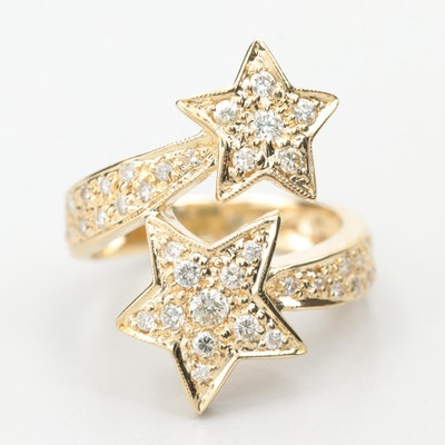 18K Yellow Gold Diamond Star Bypass Ring