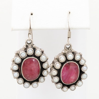 Sterling Silver Corundum and Cultured Pearl Earrings