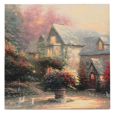 Giclee Print After Thomas Kinkade of Stone House and Garden