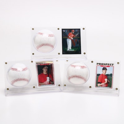 Bruce, Frazier and Bailey Signed Baseballs with Cards Displays
