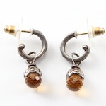 Stephen Dweck Silver Plated Hoops with Citrine Charms and 18K Posts