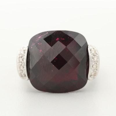18K White Gold Garnet and Diamond Ring