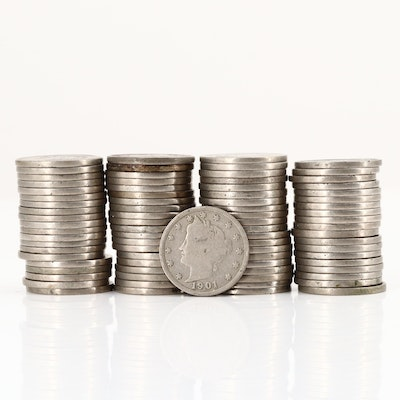 """Group of Eighty Liberty Head """"V"""" Nickels"""