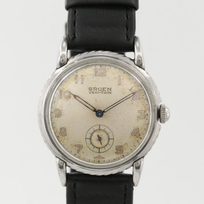 Vintage Gruen Veri - Thin Stainless Steel Stem Wind Wristwatch