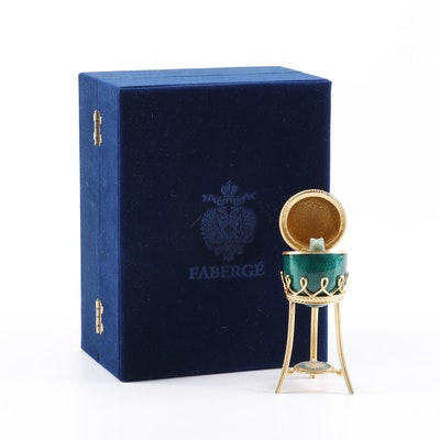 Faberge Egg Trinket Box with Jade Frog and Stand in Velvet Storage Box