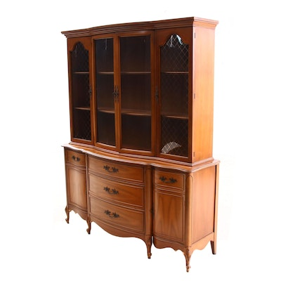 French Provincial Style Cherry 2-Piece China Cabinet, Mid-20th Century
